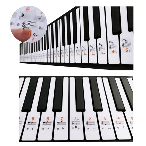 Transparent 37 49 61 Elektronische Tastatur 88 Key Piano Stave Note Sticker Notation Version & Noten für White Keys