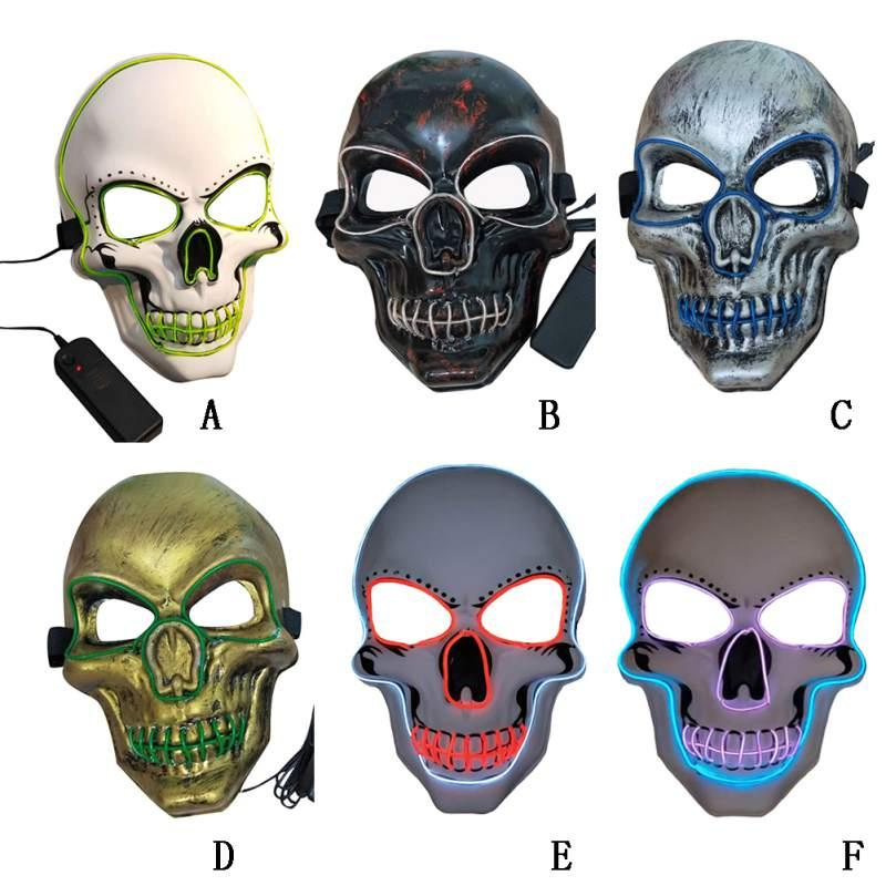 6 styles Skull Glowing Mask Costume LED Party Mask For Horror Theme Cosplay EL Wire Halloween Masks Party Supplies MMA2532