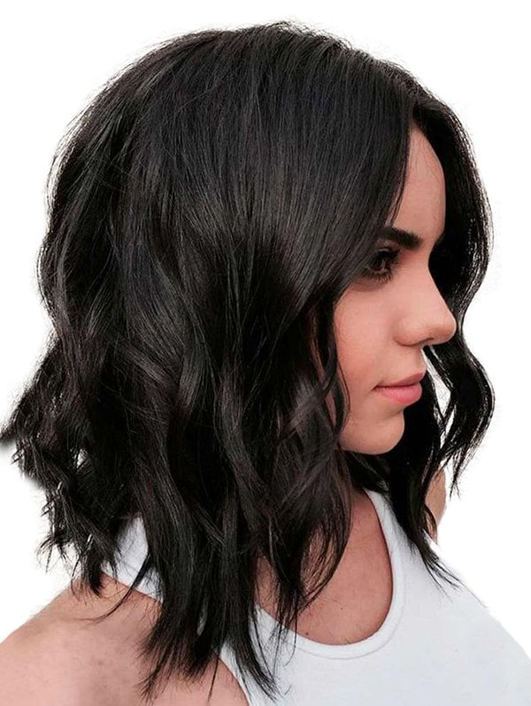 Long Center Part Solid Loose Wave Synthetic Wig