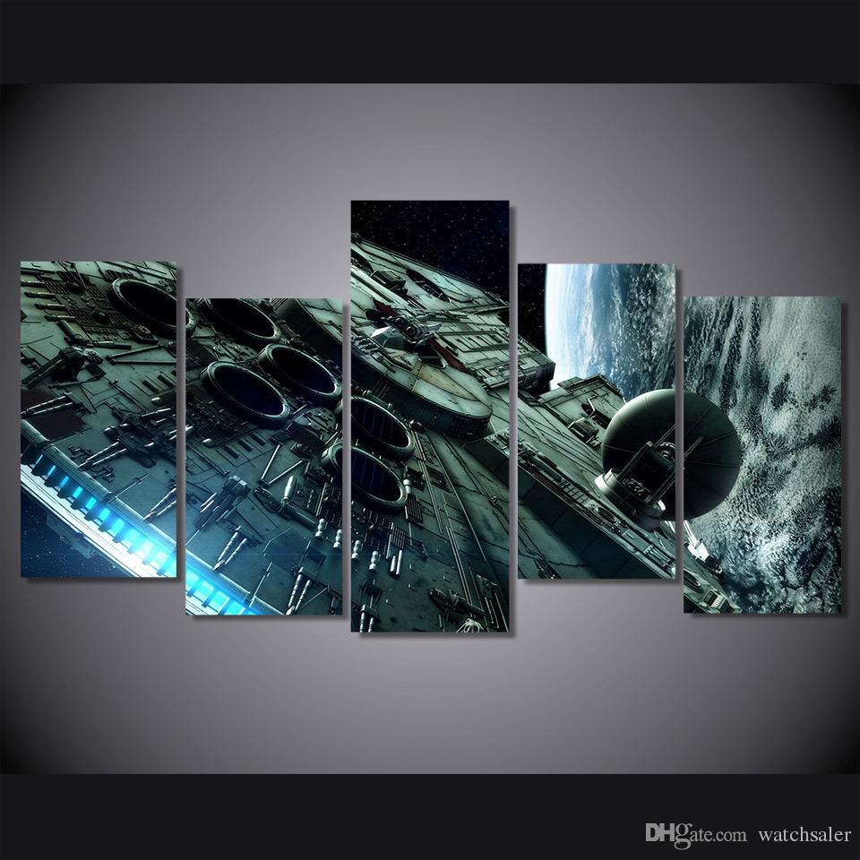 5 Pcs/Set HD Printed millennium falcon Hot Movie Painting Canvas Print room decor print poster picture canvas fashionable paintings