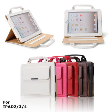PU Leather Stand Case with Handle   Storage Compartment for iPad 2 3 4 - Perfect for Travel