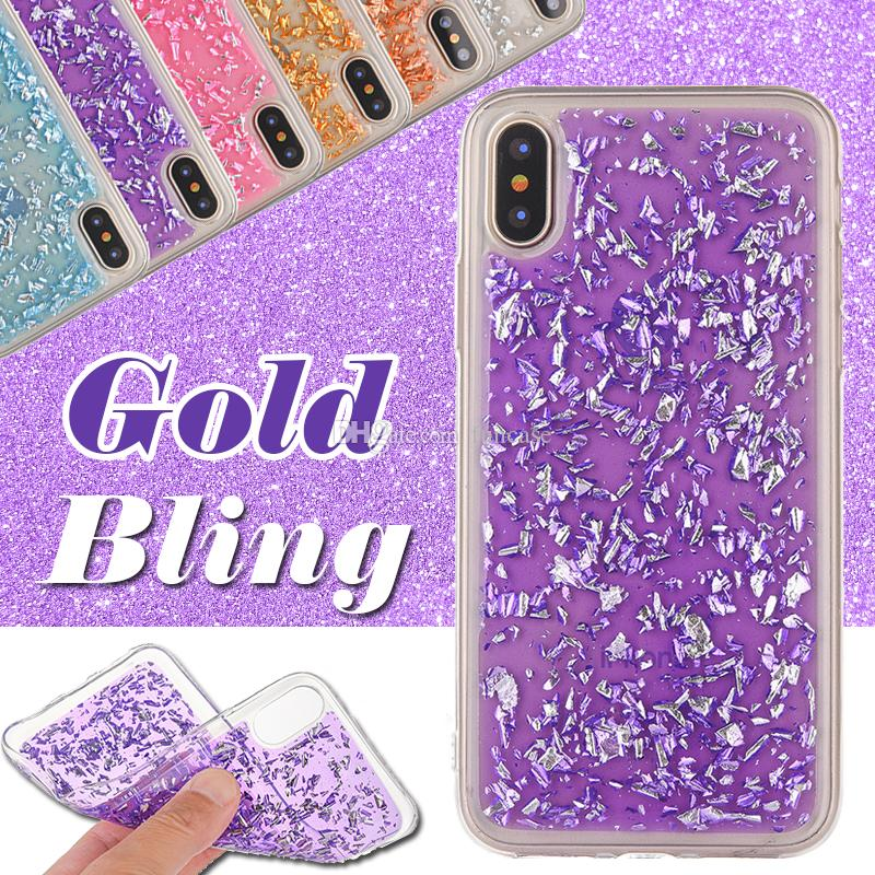 Gold Bling Case Paillette Sequin Clear Soft TPU Slim Shockproof Rubber Cover For iPhone XS Max XR X 8 7 6 Plus Samsung Galaxy Note 9 S9 S8