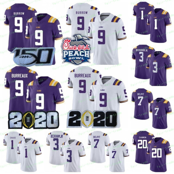 ncaa lsu tigers jersey 9 joe burrow burreaux jamarr chase cannon grant delpit odell beckham jr fulton fournette college 150th 2020peach bowl