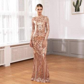 Gold Elegant Full Sleeved O Neck Sequined Evening Party Dress Stretch Floor Length Lining Bodycon Burgundy Black Maxi Dress