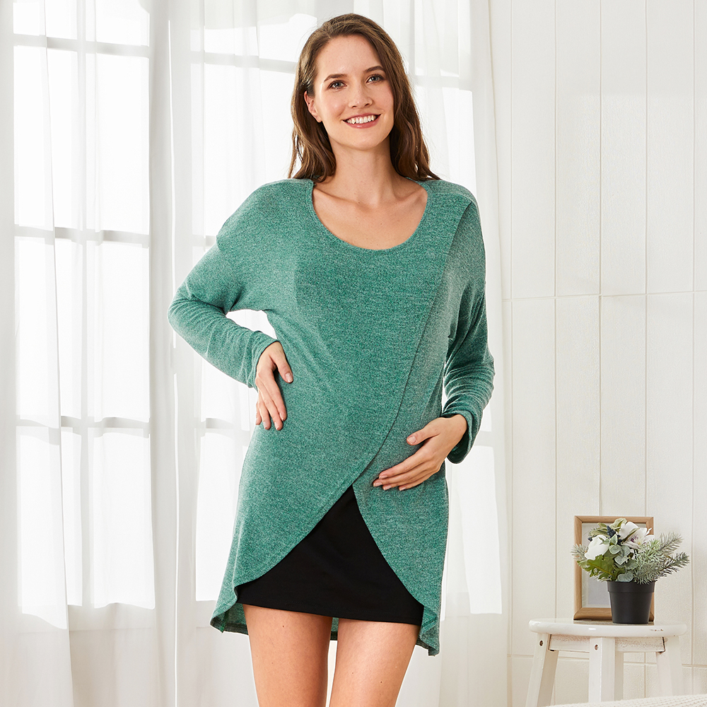 Casual Color Contrast Long-sleeve Nursing Dress