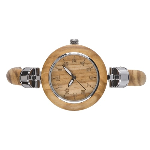 BEWELL ZS-W151A Women Wood Watch Quartz Movement Vintage Casual Bracelet Bangle Wrist Watch