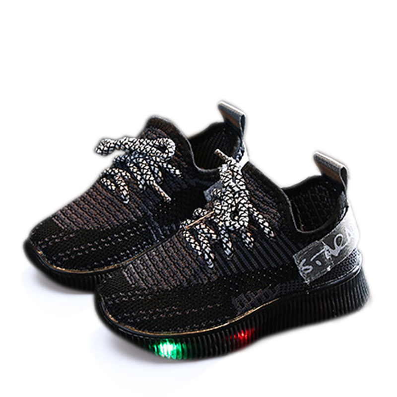 Toddler Boy / Girl Fashion Colorblock Knitted Led Shoes (Various colors)
