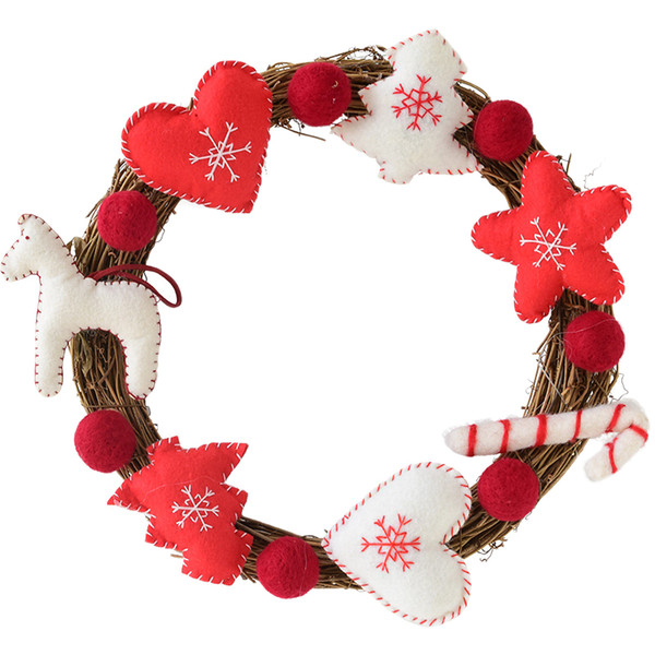 Christmas Wreath Front Door Decorations Garland Xmas Winter Holiday Theme Supplies Hanging Ornaments Wreath Window Christmas Dec