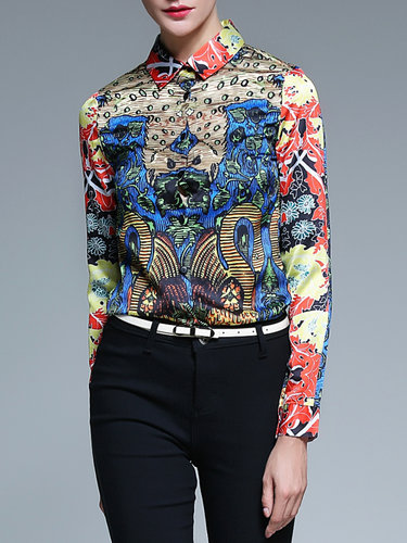 Multicolor Printed Shirt Collar Vintage Blouse