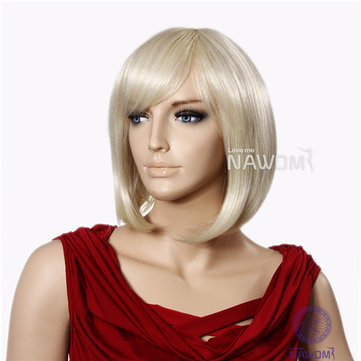 NAWOMI 100% KANEKALON BOB Short Wig Neat Bangs Golden Women Synthetic Capless