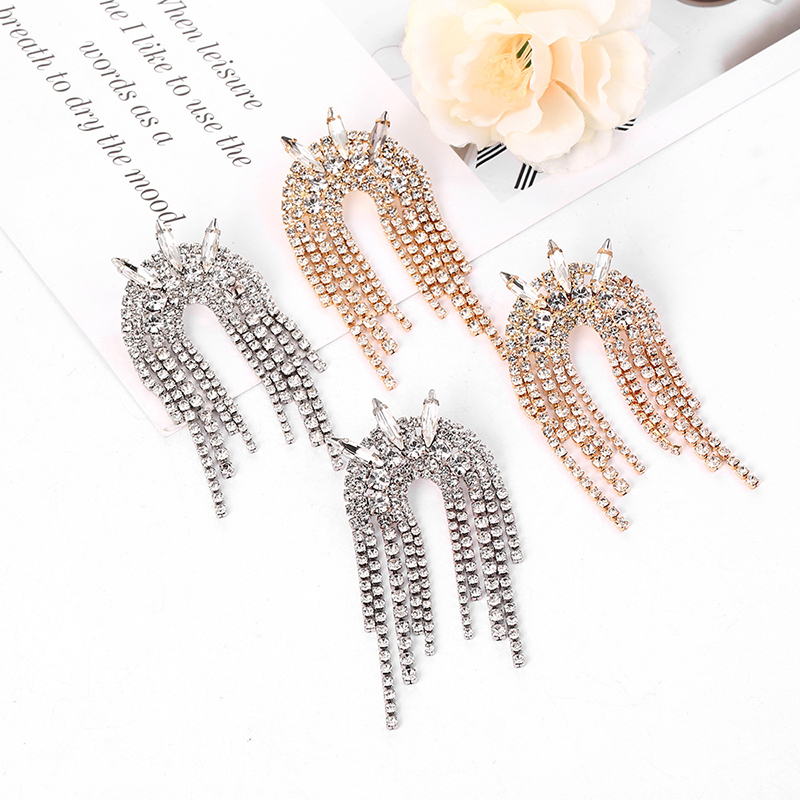 Crystal Diamond Crown Tassel Pendant Earrings