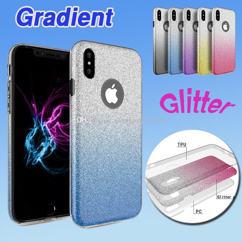 Hybrid Gradient Glitter Bling Shiny 3 in 1 Case TPU+PC Colorful Back Cover Flash Skin For iPhone XS Max XR X 8 7 6 6S Plus Samsung Galaxy S9