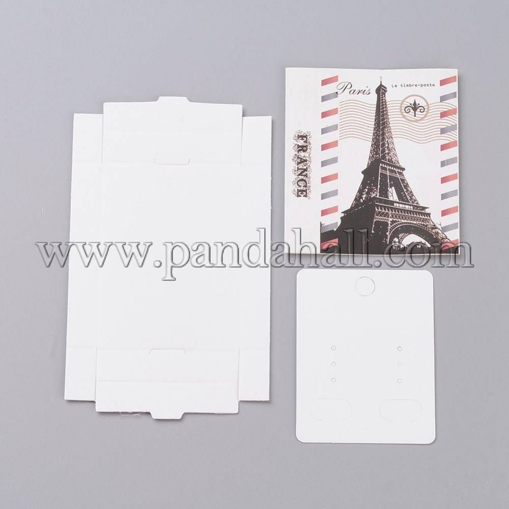 Kraft Paper Boxes and Earring Jewelry Display Cards, Packaging Boxes, with Eiffel Tower Pattern, White, Folded Box Size: 7.3x5.4x1.2cm; Display Card: 6.5x5x0.05cm