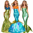 Mermaid Tail Aqua Queen Aqua Princess Cosplay Costume Party Costume Adults' Women's Christmas Halloween Carnival Festival / Holiday Terylene Golden / Teal / Purple Women's Carnival Costumes Mesh