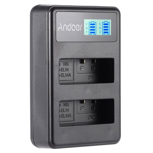 Andoer EN-EL14 EN-EL14A Rechargeable Li-ion Battery Charger Pack LED Display 2-Slot USB Cable Kit for Nikon D3100 D3200 D3300 D5100 D5200 D5300 D5500 DF Coolpix P7000 P7100 P7700 P7800 DSLR Camera