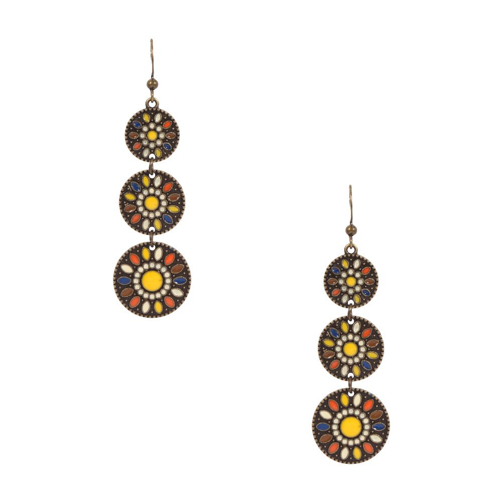 Indian Retro Creative Drop Oil Round Drop Alloy Earrings