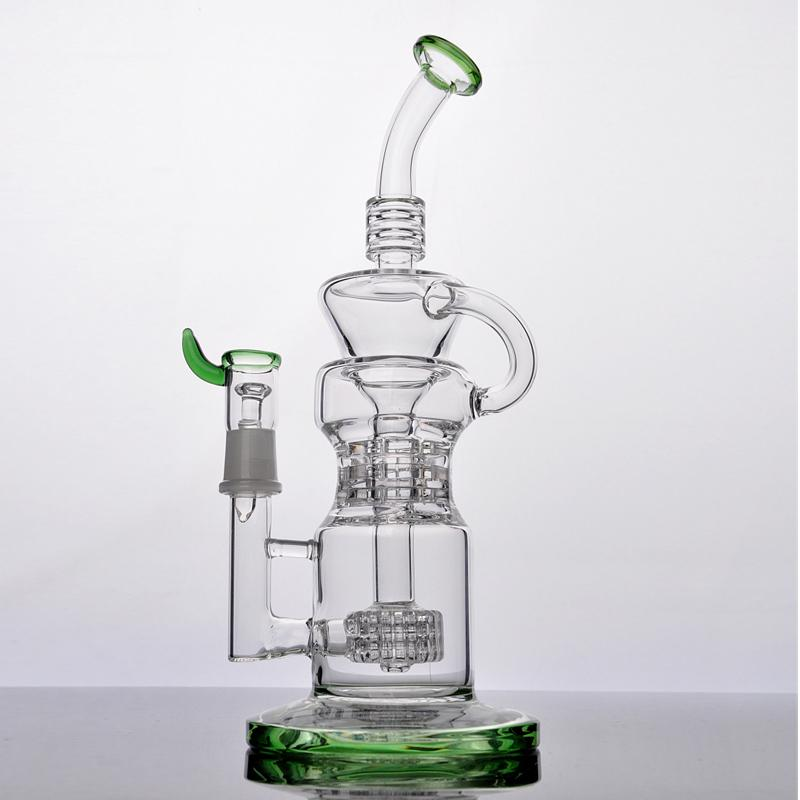 New Style glass bong with tire recycler two function 14mm standard female joint High quality Thick Glass Free Shipping