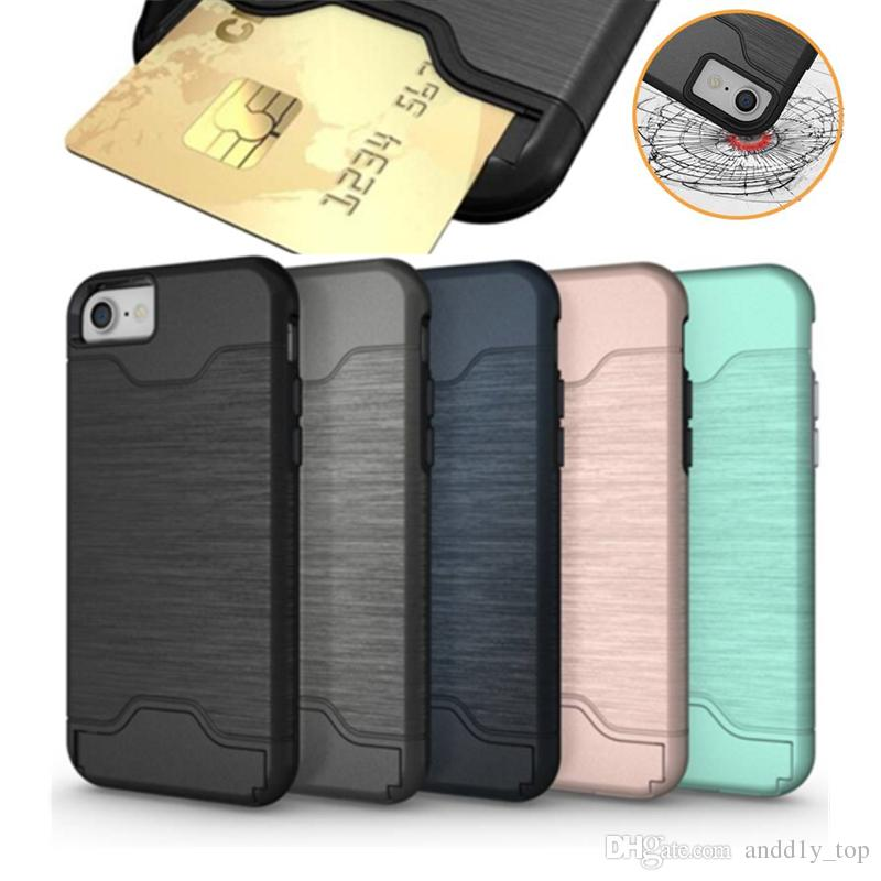 For iPhone X 8 7 6 plus Case Brush Card Slot Holder Back Cover Kickstand Case for Samsung Galaxy S9 S9 Plus Armor Case OPP Bag