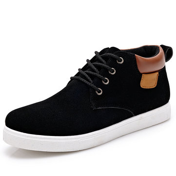 Men Suede British Style Pure Color High Top Sport Ankle Casusl Boots