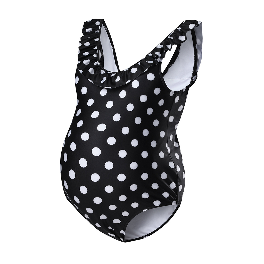 Stylish Dotted Backless One-piece Maternity Swimsuit