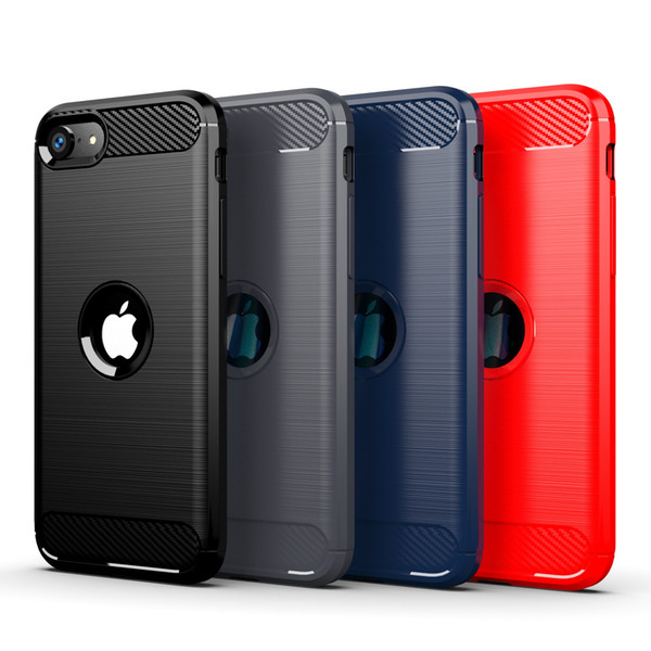 For iPhone SE 2020 11 Pro Max 6 7 8 Plus XR XS Max Rugged Brushed Carbon Fiber Anti Fingerprint Soft TPU Case