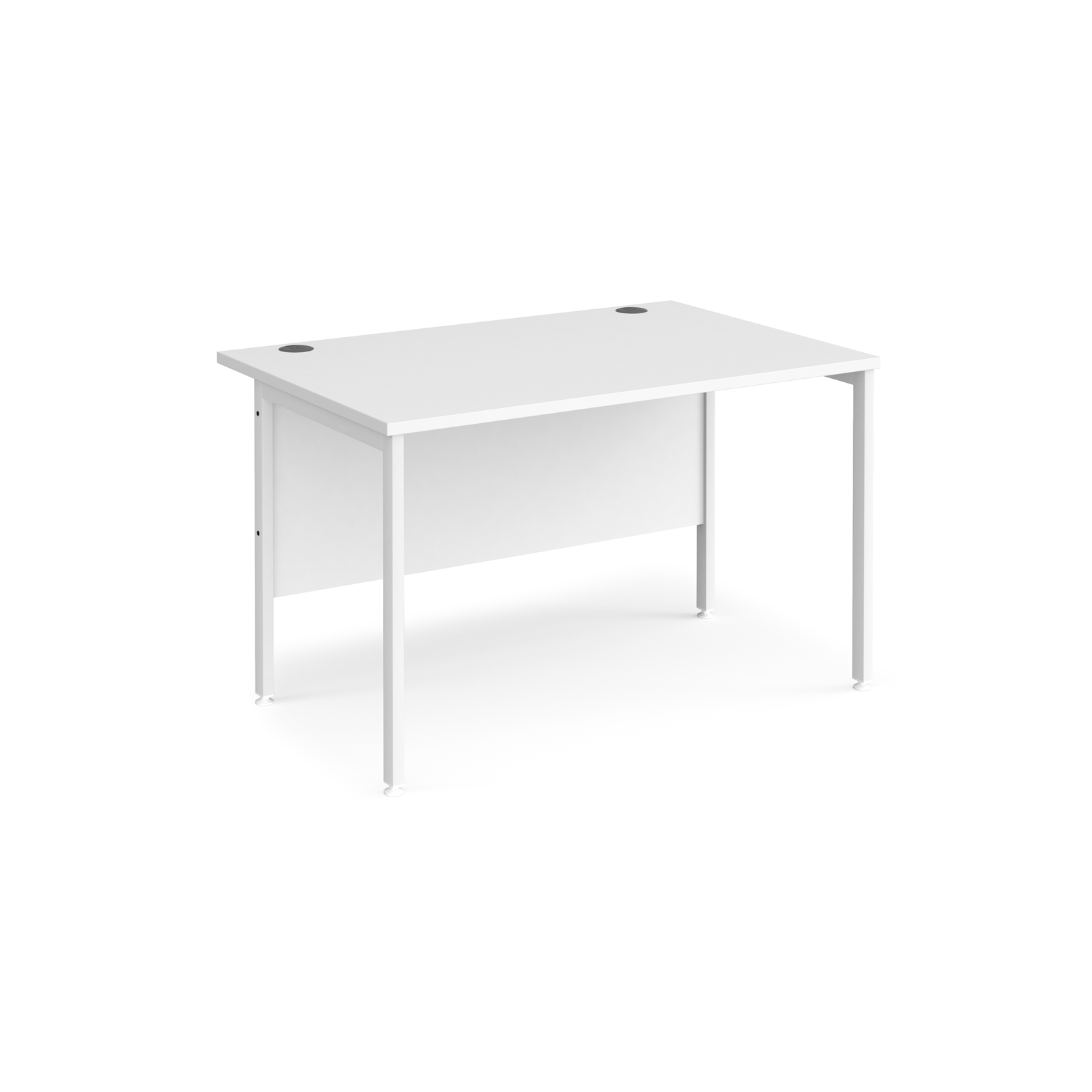 Maestro 25 straight desk 1200mm x 800mm - white H-frame leg, white top
