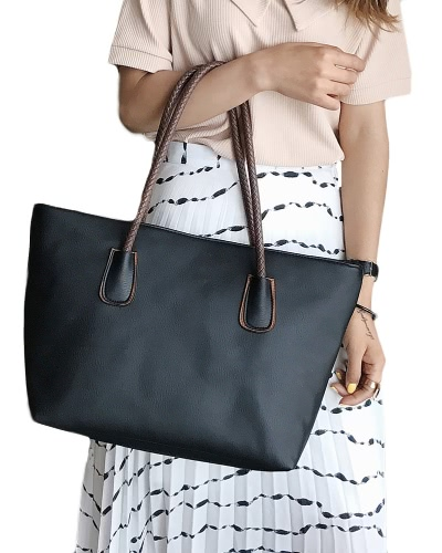 New Women PU Leather Handbag Large Capacity Zipper Casual Tote Shoulder Bag Black/Beige