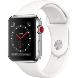 Apple Watch Series 3 (GPS + Cellular) - 42 mm - Edelstahl - intelligente Uhr mit Sportband - Flouroelastomer - soft white - Größe S/M/L - 16GB - Wi-Fi, Bluetooth - 4G - 52,8 g (MQLY2ZD/A)