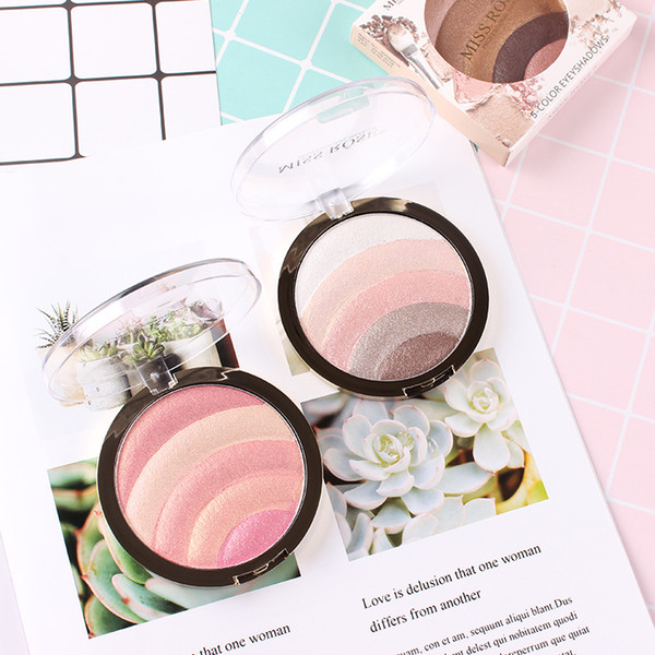 rainbow 5 colors highlighter eye shadow blush shining portable eyeshadow palette 10 styles optional professional makeup