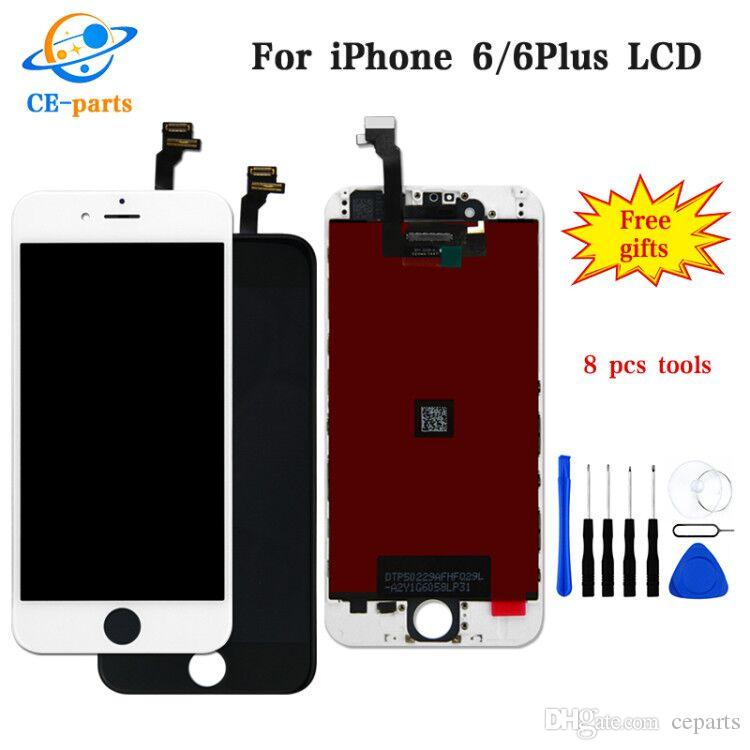 LCD Display for iphone 6 6S 7G 8G with Touch Digitizer Complete Screen with Frame Full Assembly Replacement Parts DHL Ship Black/White