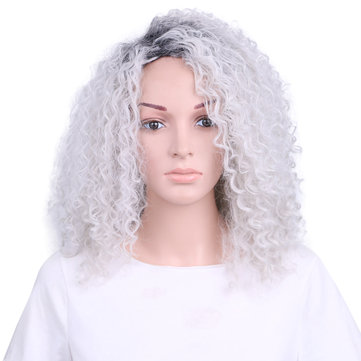 Gradient White Kinky Curly Synthetic Wig