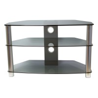 BRISA 1000mm Smoked Glass AV Rack - Silver Legs