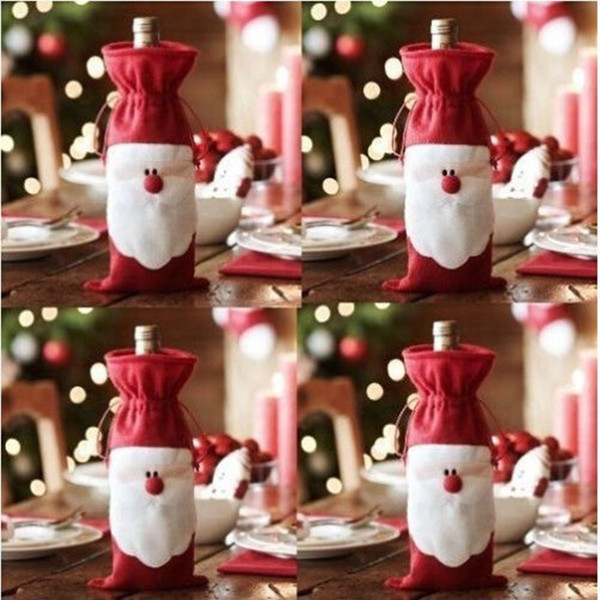 Merry Xmas Santa Claus Wine Bottle Bag Cover Christmas Dinner Party Table Decor Party DIY Decoration