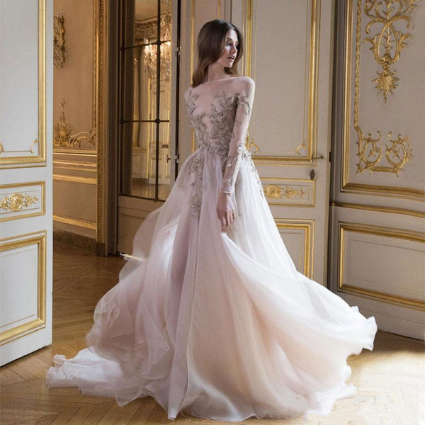 Charming Paolo Sebastian Prom Dresses With Long Sleeves Sheer Bateau Neck 3D Appliques Evening Gowns Tulle Sweep Train A-Line Formal Dress