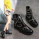 Women's Boots Fall  Winter Chunky Heel Round Toe Daily PU Mid-Calf Boots Black