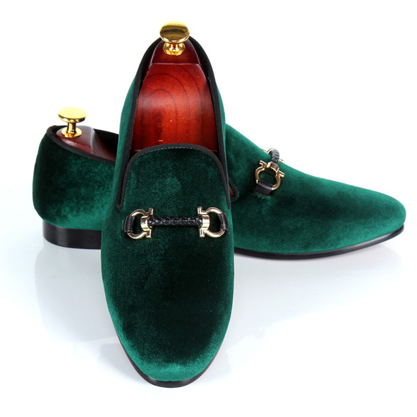 harpelunde wedding shoes mens buckle strap dress shoes red bottom green handmade velvet loafers leather lining drop shipping size 7-14