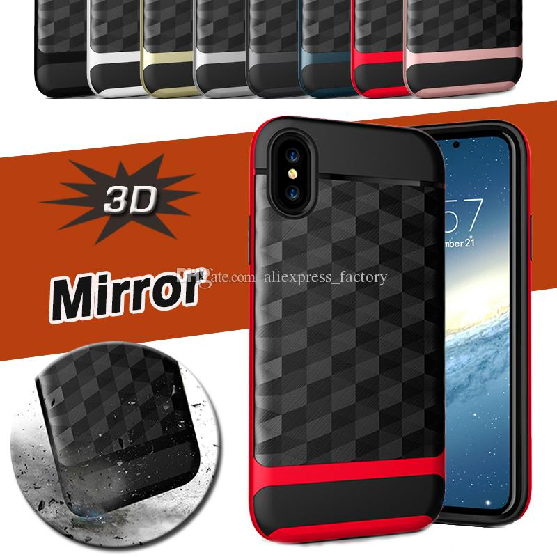 3D Mirror Brushed Case Textured Geometric Armor Shockproof 2 in 1 Hybrid PC+TPU Cover For iPhone X 8 7 Plus 6 6S Samsung Note 8 S8 S7 Edge