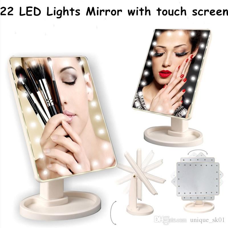 New Rechargeable 22 Led Lights Makeup Mirror Touch Screen Professional Vanity Mirror 360 Degree Rotation LED Table Mirrors 1pcs Sale
