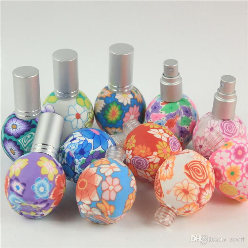 5pcs/lot Empty 15ml Polymer Clay Spray Bottle Travel Refillable Glass Bottle Perfume Empty Atomizer Container Mix Color