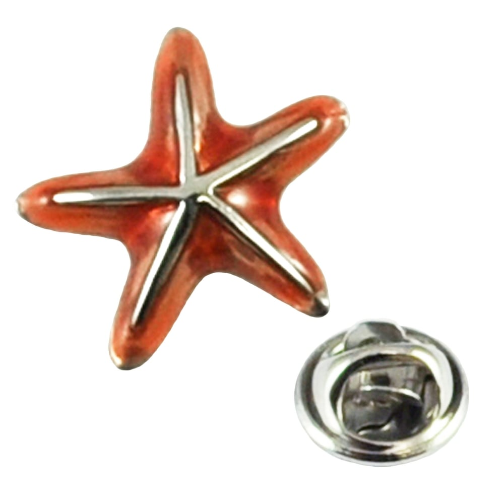 Red Starfish Lapel Pin Badge
