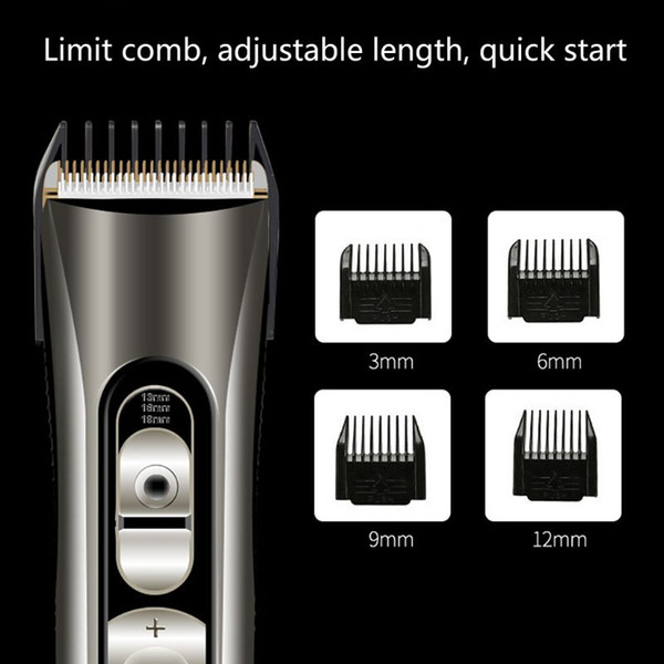 ceramic titanium alloy blade hair trimmer clipper usb rechargeable electric razor beard shaver with lcd digital display