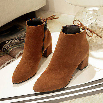 Suede Pure Color Block Boots
