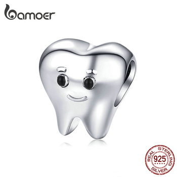 bamoer  Genuine 925 Sterling Silver Lovely Tooth Metal Charm for Silver Snake Bracelet Bijoux Cute Baby Dentist Bijoux SCC1401