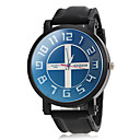 Men's Cross Pattern Dial Black Silicone Band Wrist Watch (Assorted Colors)
