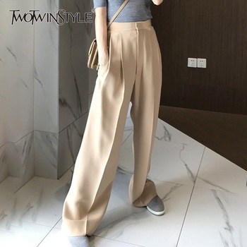 TWOTWINSTYLE Trouser For Women High Waist Causal Loose Wide Leg Pants Female 2019 Autumn Korean Fashion Elegant Tide