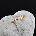 Women's New Fashion 18K Gold Plated Concise Generous Round Zircon Ring