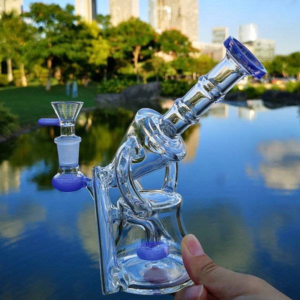 Unique Recycler Water Pipes Showerhead Perc Glass Bong 14mm Female Joint Recycler Oil Dab Rigs Sidecar Bongs With Glass Bowl XL-1972