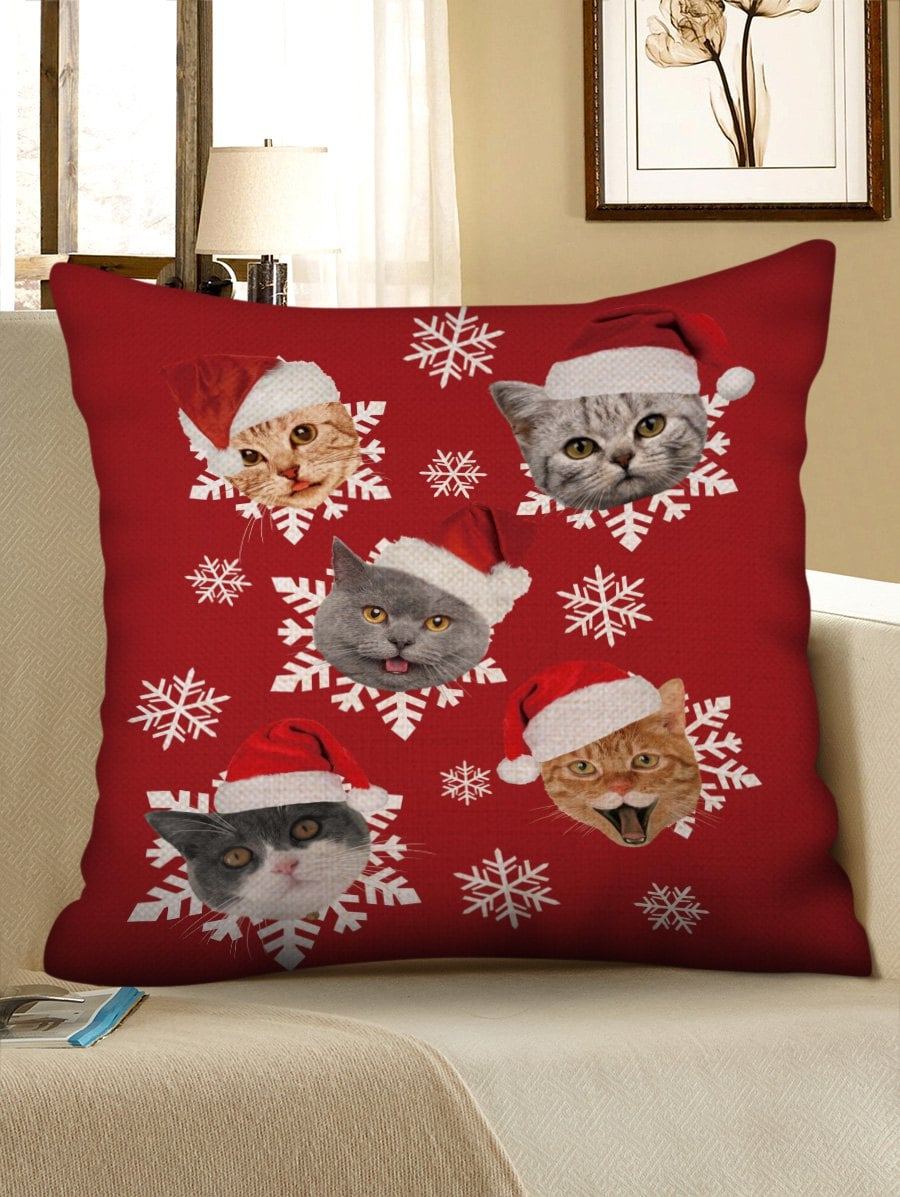 Christmas Hat Cat Snowflake Print Pillowcase