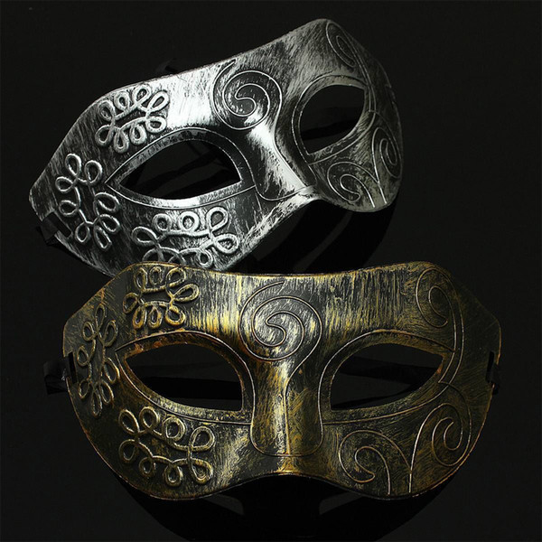 wholesale-1pc retro men halloween burnished antique silver gold venetian mardi gras masquerade party ball mask~gs637-gs638
