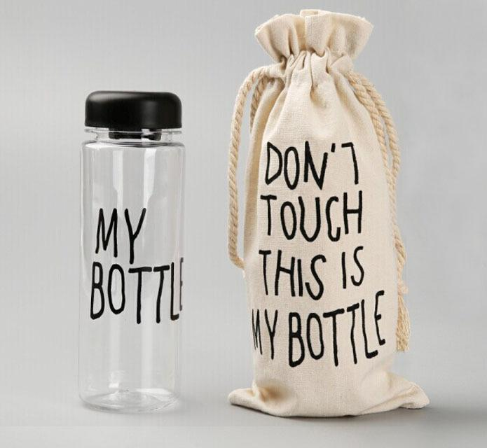 Wholesale-My Bottle With Sack Bag Fashion Water Bottles Sport Readily Cup 500 ML TRITAN BPA FREE LEAK-PROOF